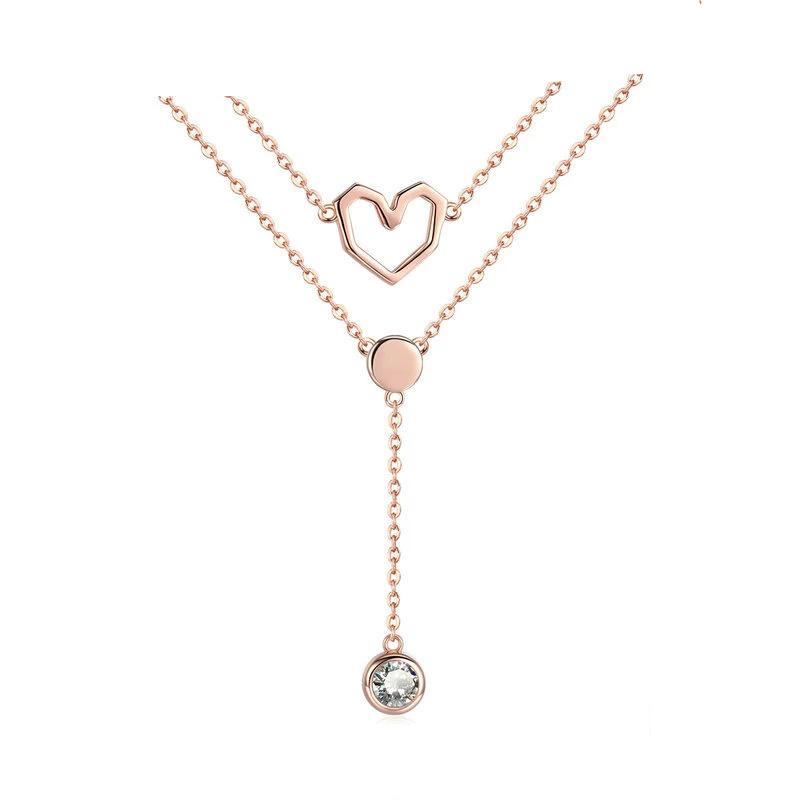 Valentine Collection 925 Sterling Silver Double Layers Love Heart Chain Pendant Necklaces Women Female Jewelry