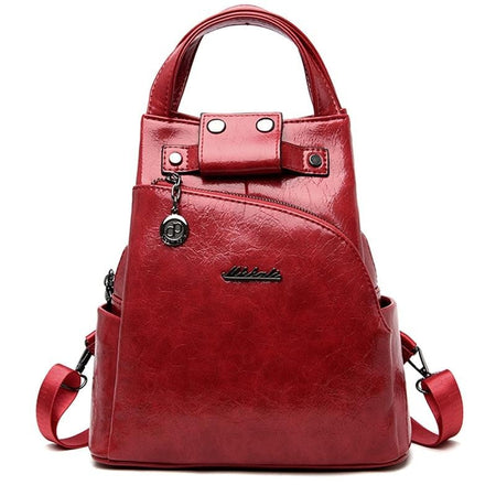 Women's Backpack With Interior Zipper Pocket From Crumpled Shiny Leather