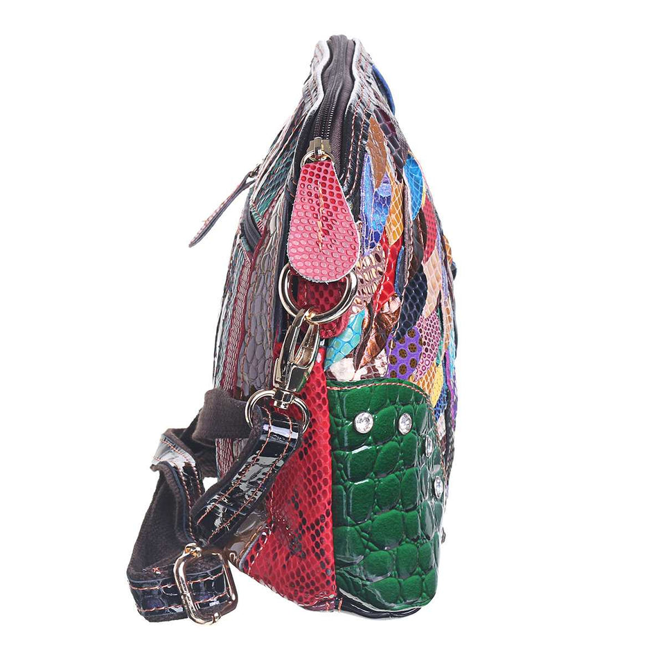 Patchwork Leather Shell Bag With Colorful Shell