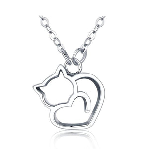 Authentic 100% 925 Sterling Silver Lovely Cat Exquisite Women Pendant Necklace Sterling Silver Jewelry