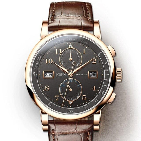 Waterproof Mechanical Watch With Mechanical Leather - Complete Calendar