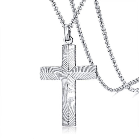 Men's Damascus Steel Cross Pendant Necklace
