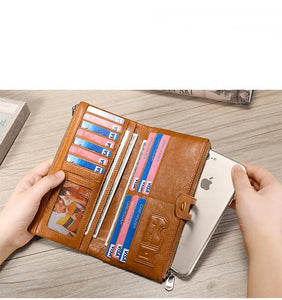 Leather Women Long Wallet With Retro Money Holder