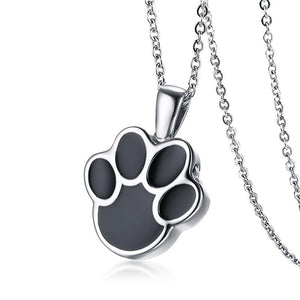 Memorial Urn Stainless Steel - Dog Cat Paw Pendant Necklace - GiftWorldStyle - Luxury Jewelry and Accessories