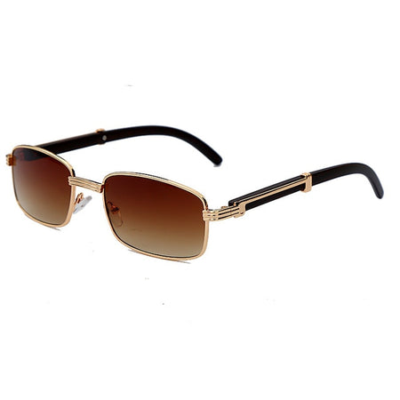 Fashion Clear Small Rectangle Sunglasses Women Metal Square Wood Glasses Frame UV400