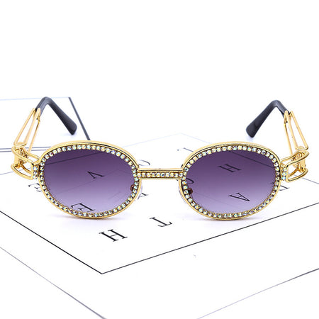 Small Round Rhinestone Sunglasses Women Steampunk Diamond Sun Glasses Vintage Shades UV400