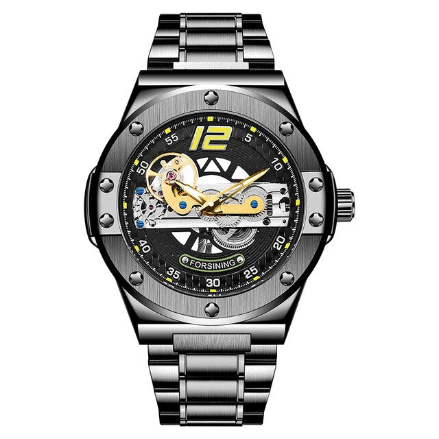 Transparent Automatic Men Watch with Golden Bridge - GiftWorldStyle - Luxury Jewelry and Accessories