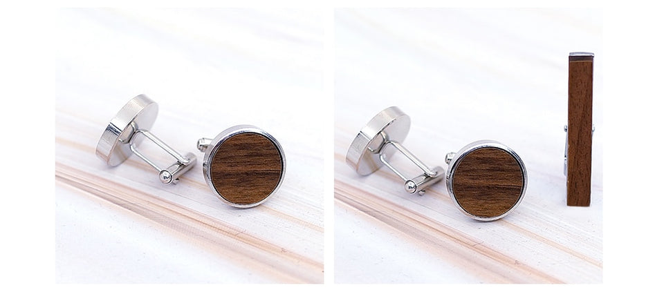 Men's Wooden Cufflinks and Tie Clip Set - GiftWorldStyle - Luxury Jewelry and Accessories