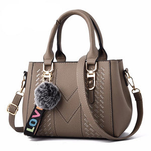 Embroidery PU Leather Shoulder Handbag With Fur Ball