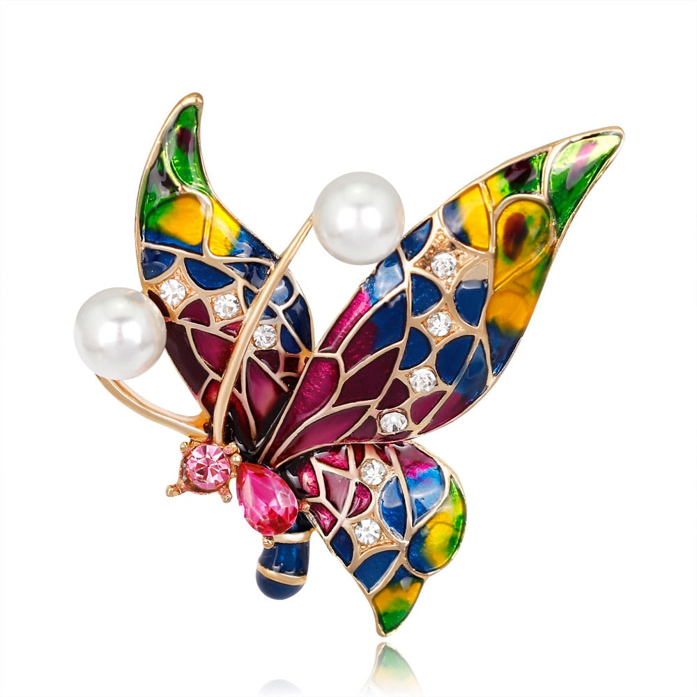 Enamel Butterfly Insect Brooch Pin