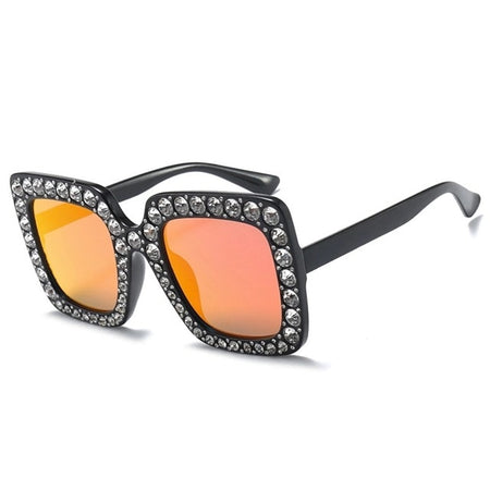 Square Rhinestone Sunglasses Women Crystal Sun Glasses Clear Lens Shades