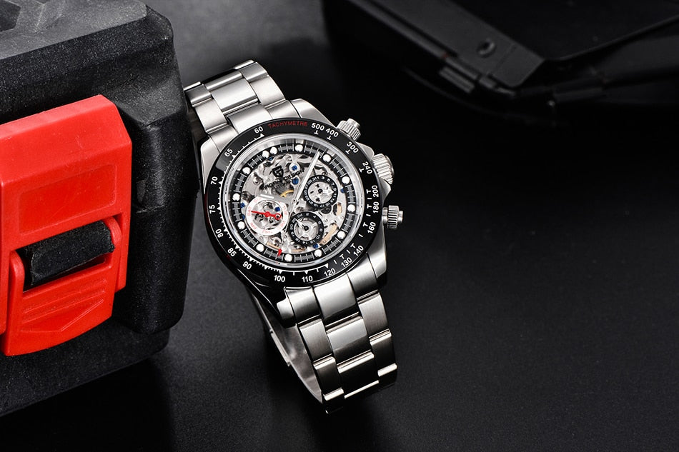 Skeleton Mechanical Watch With Auto Date And Sapphire Crystal, Waterproof - GiftWorldStyle - Luxury Jewelry and Accessories