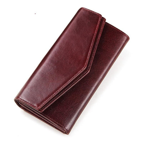 Cow Leather Wallet for Phone with Zipper and Holder