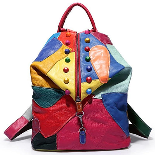Women's Backpacks With Rainbow Colorful Genuine Cow