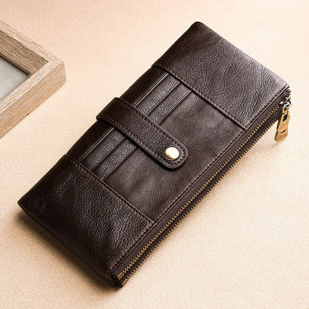 Long Wallet For Women With Anti-Theft Double-Zipper Purse