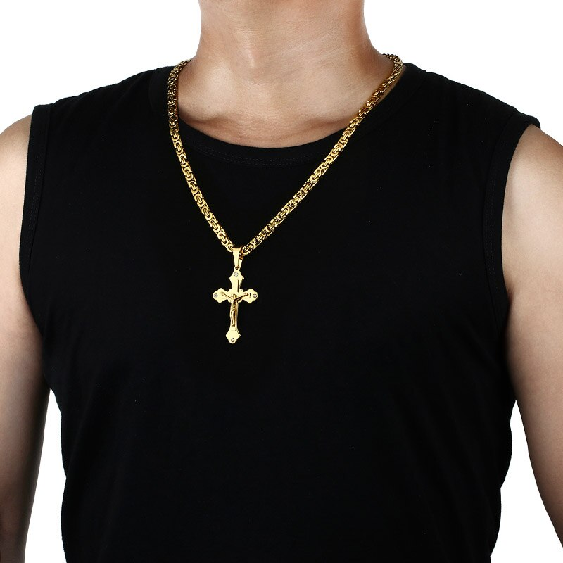 Men's Crystal Cross Pendant Necklace