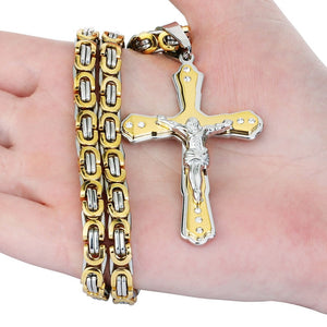 Men's Crystal Jesus Cross Pendant Necklace - GiftWorldStyle - Luxury Jewelry and Accessories