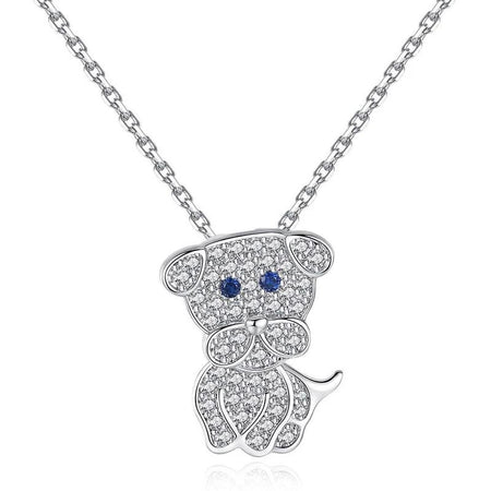 Puppy Dog Pendant Necklace - Silver 925, AAA Zircon Ornament