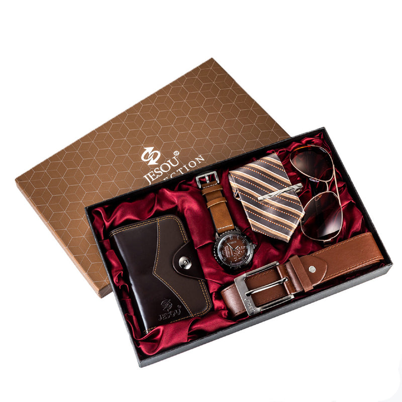 Men's Watch, Sunglasses, Belt, Necktie and Wallet Set