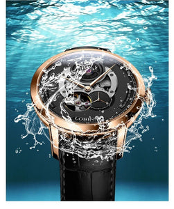 Automatic Watch Stainless Steel With Leather Strap - Anti-magnetic - GiftWorldStyle - Luxury Jewelry and Accessories