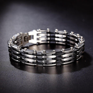 BORASI Very Cool Men Jewelry Silicone Biker Bicycle Motorcycle Chain Men's Bracelets & Bangles Stainless Steel Bracelets For Men - GiftWorldStyle - Luxury Jewelry and Accessories