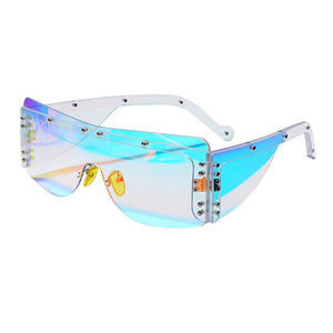 Fashion Rimless Square Mirror Sunglasses