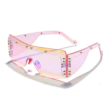 Fashion Rimless Square Sunglasses Women Mirror Pink Shades Sunglasses Female Glasses