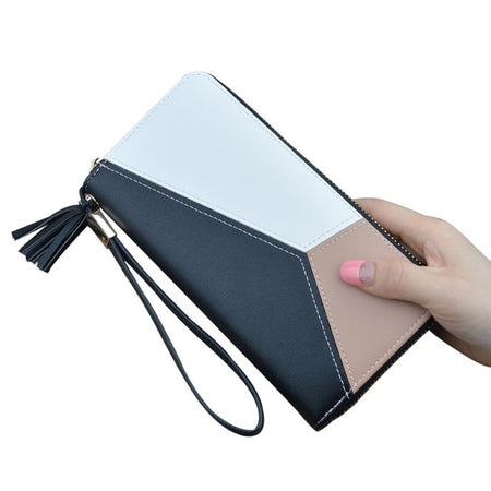 Colorful Women Long PU Leather Wallet With Zipper,Interior Slot Pocket