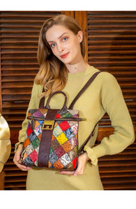 Genuine Leather Women Bag With Floral And Big Buckle
