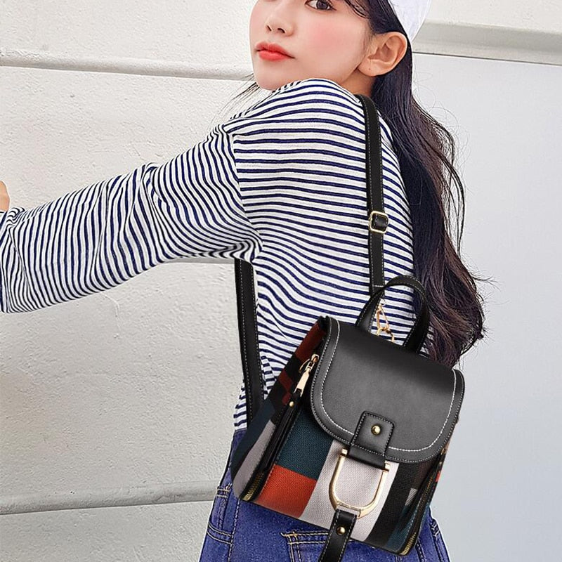 Women's Colorblock Leather Backpack - GiftWorldStyle - Luxury Jewelry and Accessories