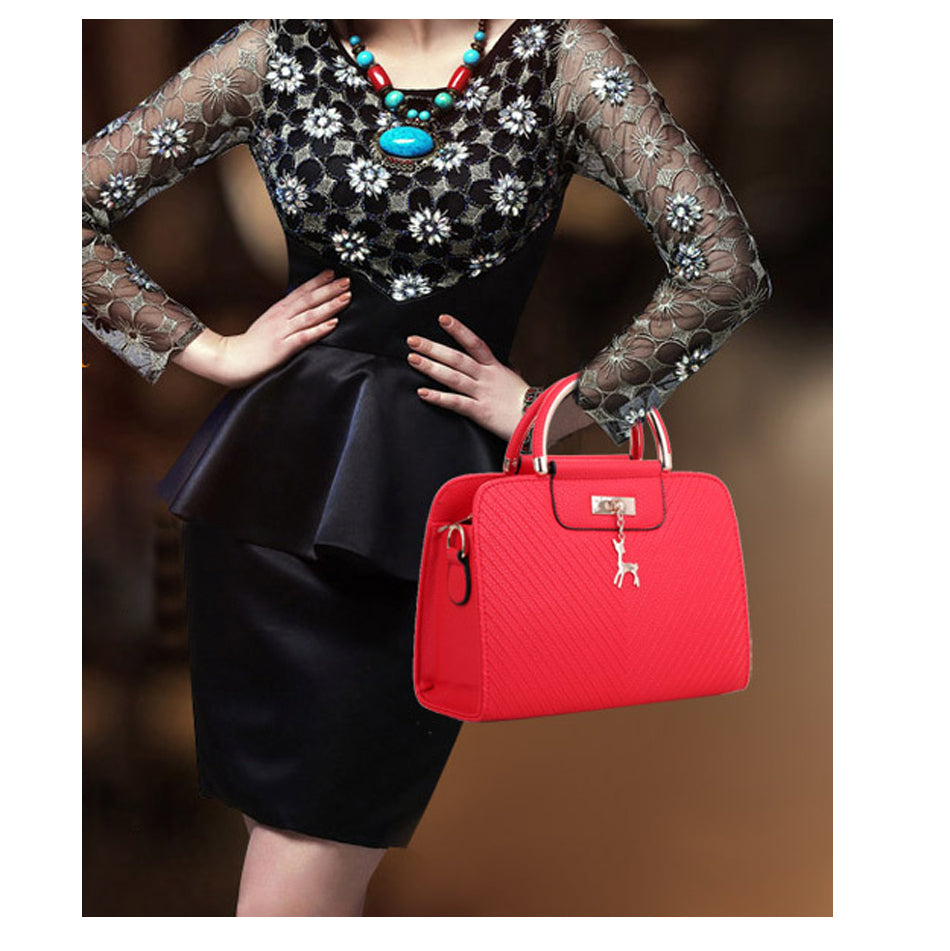 Ladies Casual Tote PU Leather Handbag - Deer Decoration