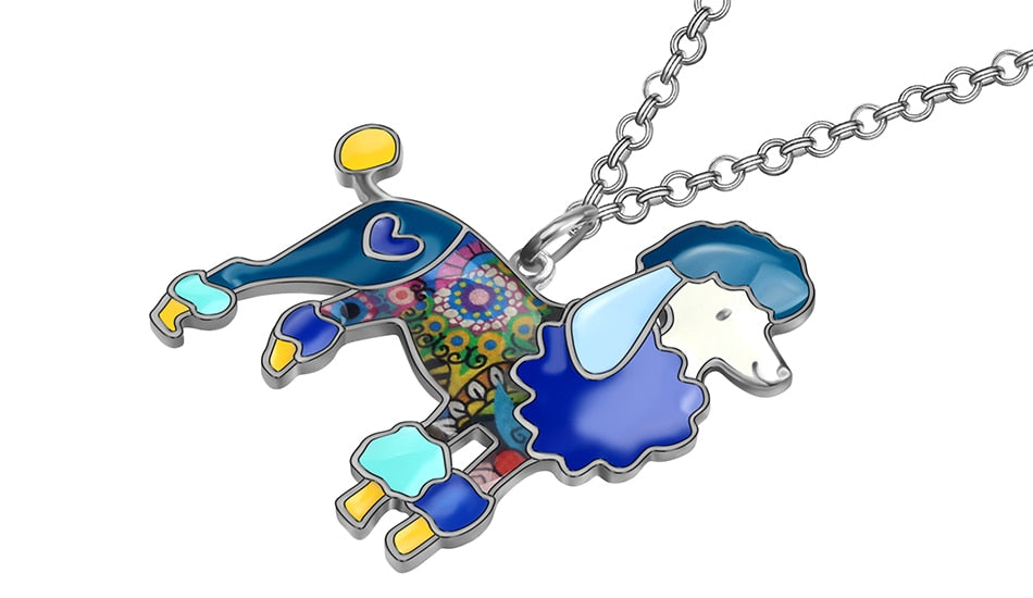 Poodle Necklace With Chain In Colorful Colors For Women