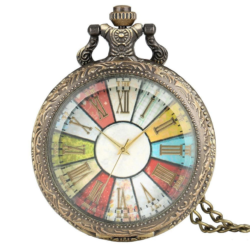 Antique Pocket Watch With Long Chain And Colorful Number Dial - GiftWorldStyle - Luxury Jewelry and Accessories