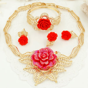 Red Rose Gold Wedding Necklace, Earrings, Ring & Bracelet - GiftWorldStyle - Luxury Jewelry and Accessories