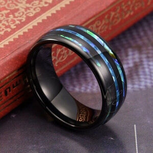 Unisex Cogwheel Tungsten Carbide Ring – Blue