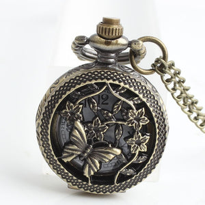 Women's Pocket Watch With Bronze Butterfly and Flowers Hollow - GiftWorldStyle - Luxury Jewelry and Accessories