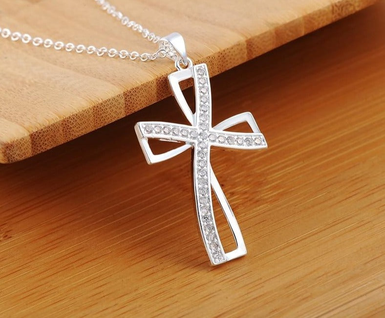 Zirconia Cross Necklace - 925 Sterling Silver - GiftWorldStyle - Luxury Jewelry and Accessories