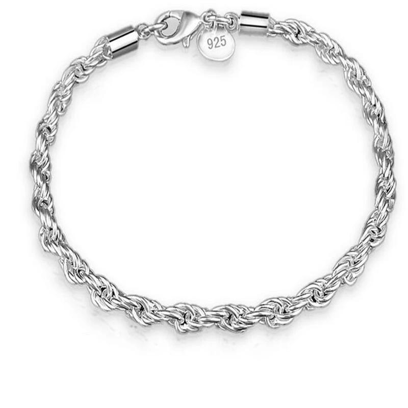 Twisted Rope Bracelet For Women - 925 Sterling Silver