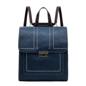 Solid Vintage PU Leather Backpack For Women