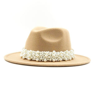 Wide Cotton Hat With A Pearl Ribbon And Bead - GiftWorldStyle - Luxury Jewelry and Accessories