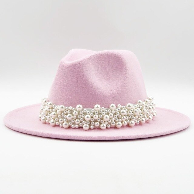 Wide Cotton Hat With A Pearl Ribbon And Bead