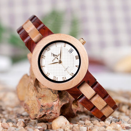Women's Japan Movement Quartz Wood Watch