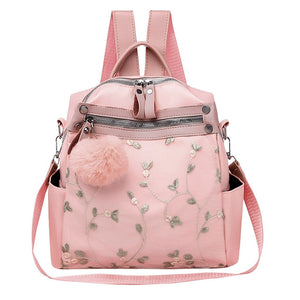 Women's Lace Embroidery Flower Anti-Theft Soft Backpack - Large Capacity