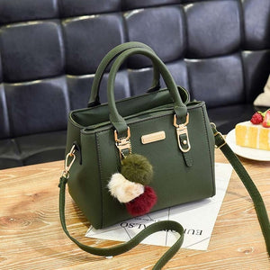Women's Embroidery PU Leather Handbag With Hairball Decoration