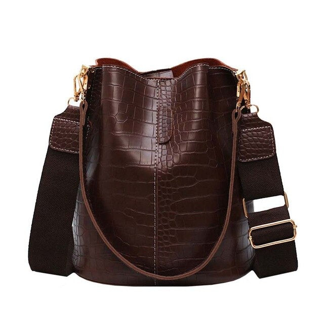 Pu Leather Crocodile Bucket Bag - Large Capacity
