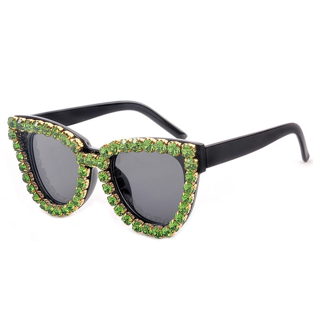 Cat Eye Sunglasses With Rhinestone For Women
