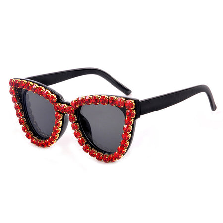 Rhinestone Cat Eye Sunglasses Women Vintage Diamond Crystal Sun Glasses Female Eyeglasses Shades