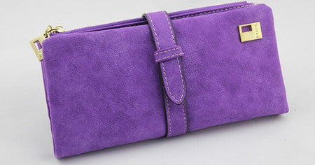 Suede Wallet With Two Long Purse For Money,Cell Phone Pocket