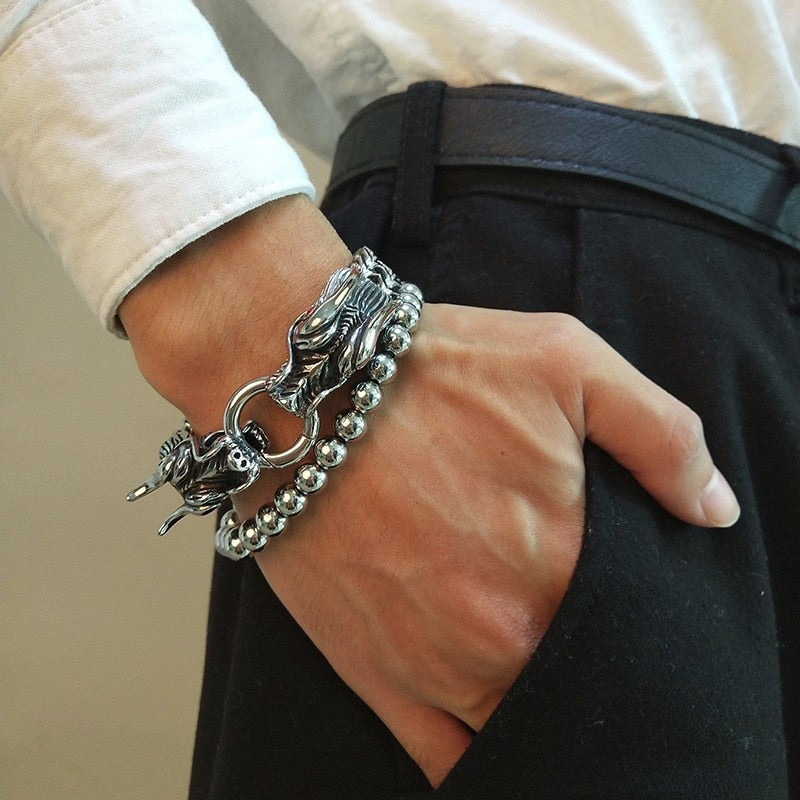 Men's Naga Dragon Head Bracelet On Double Foxtail Chain - Stainless Steel