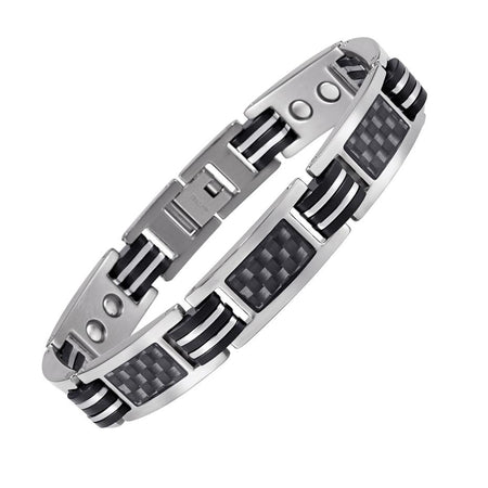 Titanium Energy Bracelet With Black Carbon Fiber Magnetic